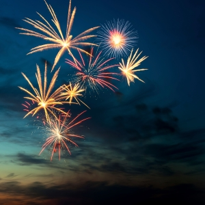 Brightly colorful fireworks  in the night sky
