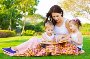 Mother teaching her kids