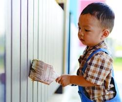 Asia toddler boy kid playing outdoor