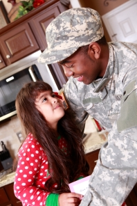 Veterans day-girl with soldier