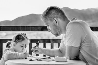 Girl and Father drawing